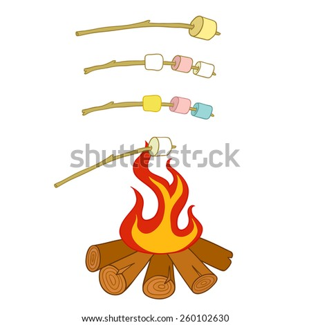 Campfire and marshmallow roast on a stick - stock photo