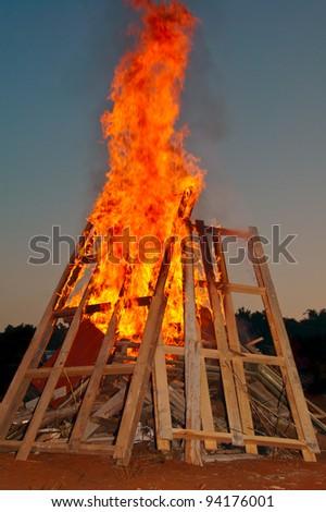 campfire at dusk - stock photo
