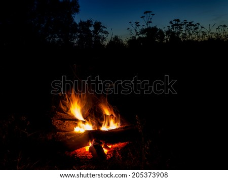 campfire at night in the field against the sky at night in the field against the dark sky - stock photo