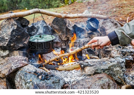 campfire cooking - stock photo