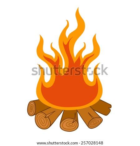 campfire illustration isolated on white background - stock photo