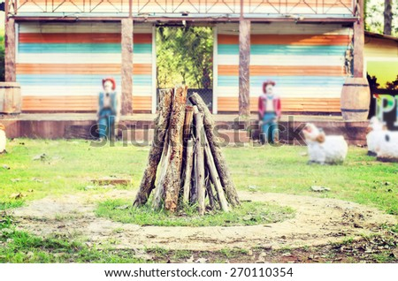 Campfire in Campus Camping Vintage Tone in Memories Soft Focus and Blurred - stock photo