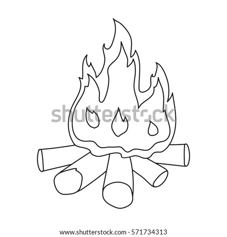Campfire Of Stone Age Icon In Outline Style Isolated On White Background Symbol
