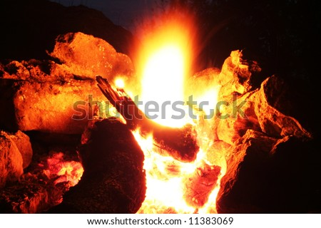 campfire on river shore