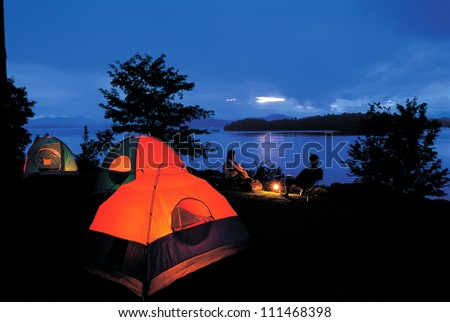 Campground beside the lake,National park,Thailand. - stock photo