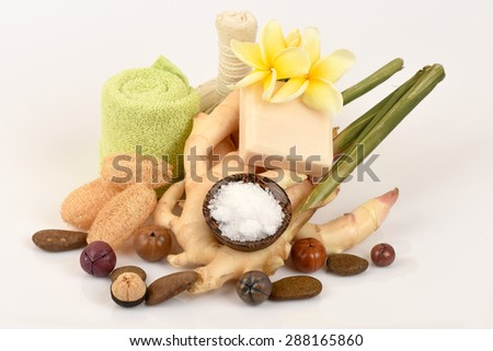 Camphor Mix ginger handmade soaps and deodorant. Tablets and rashes on the body smell fresh. - stock photo