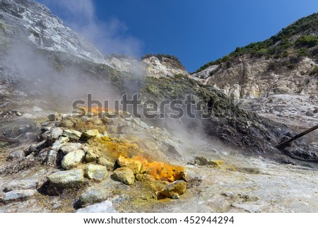 Campi Flegrei - Solfatara  Pozzuoli Vulcano crater in italy - stock photo