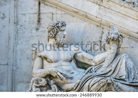 Campidoglio square and statue of capital city - stock photo