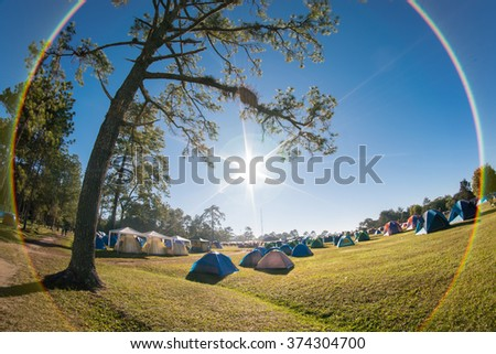 Camping activity at Phu Kradueng National Park, Loei, Thailand - stock photo