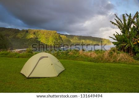 Camping along Hana coastline in Maui, Hawaii - stock photo