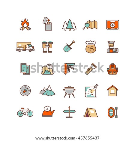 Camping and hiking flat line icons