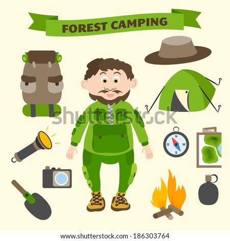 Camping and outdoor activity tourism infographic elements for web design and presentation  illustration