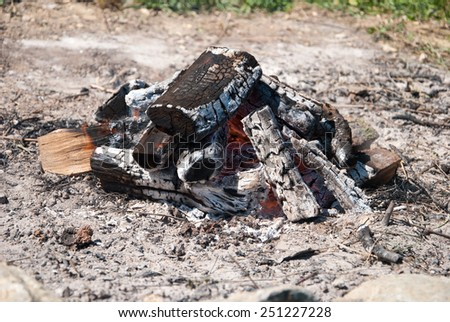 Camping bonfire with ash close-up view. - stock photo