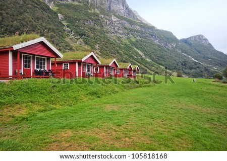 Camping cabins in Norway in mountains.