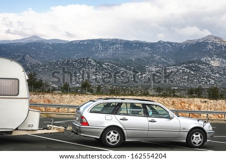 Camping car on the road - stock photo