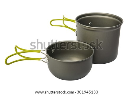 camping dishes on white - stock photo