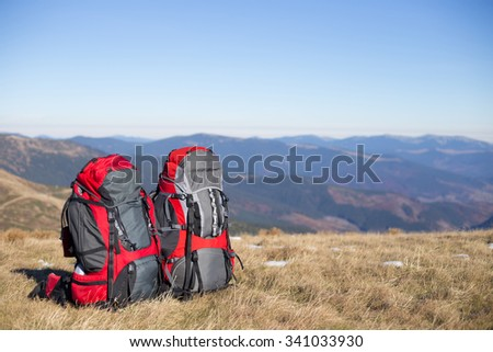Camping elements/ equipment on top of the mountain. - stock photo