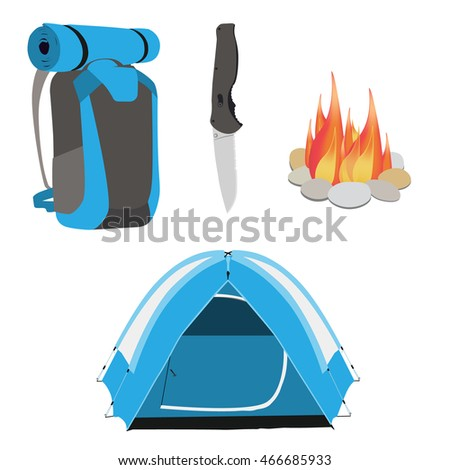 Camping Equipment Blue Tent Campfire With Stones Travel Backpack And Exploration Hat