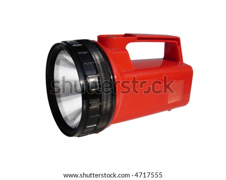 Camping flashlight isolated with clipping path. - stock photo