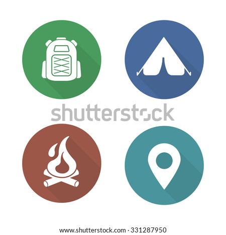 Camping flat design icons set. Boy-scout travel backpack symbol. Outdoor tourism tent symbol. Camp fireplace long shadow silhouette illustration. Gps location pictogram. Raster infographics elements - stock photo