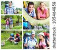 Camping. Happy couple tourists. Summer collage. - stock photo