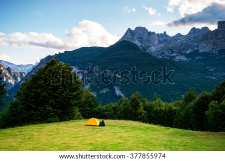 Camping Hiking Scenics Panoramic Landscape  - stock photo