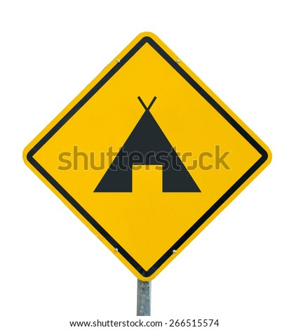 Camping icon yellow road sign on white background - stock photo