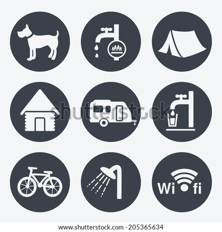 camping icons - circular buttons, set 1 - stock photo