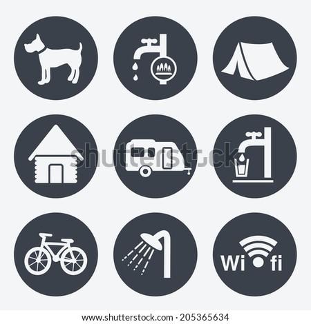 camping icons - circular buttons, set 1 - stock photo