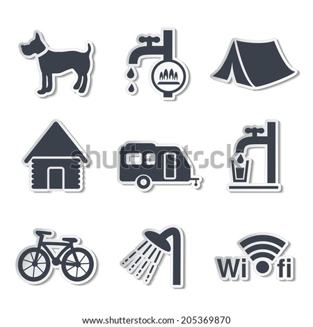 camping icons - stickers
