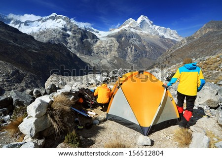 Camping in Artesonraju Morraine Camp, Cordiliera Blanca, Peru, South America - stock photo
