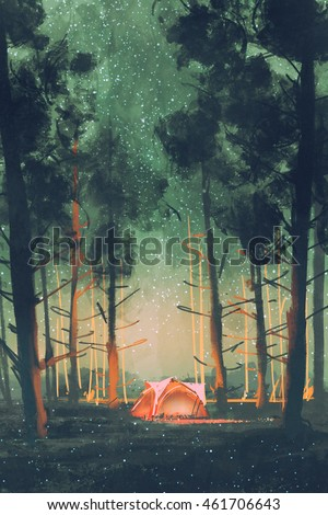 camping in the woods at night. Camping In Forest At Night With Stars And Fireflies,illustration,digital Painting The Woods
