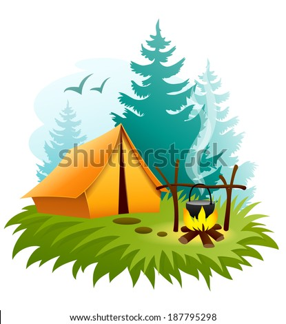 camping in forest with tent and campfire. Rasterized illustration. - stock photo