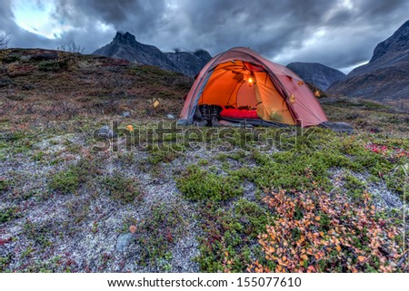 Camping in Lapland - stock photo