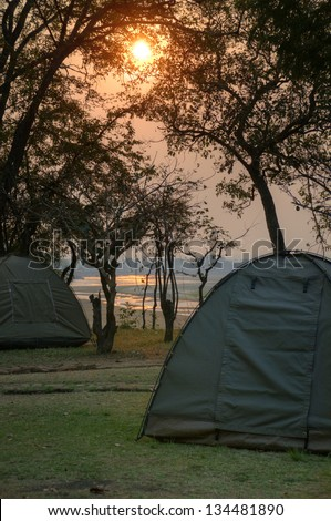 Camping in South Luangwa National Park in dusk, Zambia, Africa - stock photo