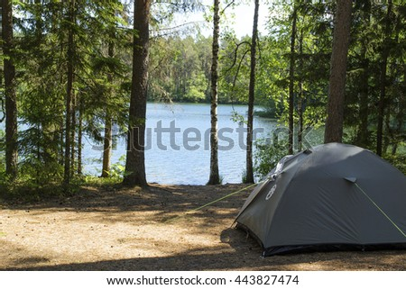 Camping in the lake district with a tent - stock photo