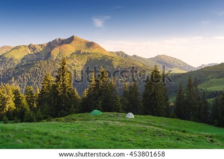 Camping in the mountains. Two tourist tents on a green hill. Morning landscape with sunshine and clear blue sky. Fir forest on a hill. Karpaty, Ukraine, Europe - stock photo