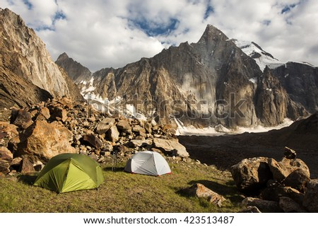 Camping in the wild mountains in south Kyrgyzstan, Central Asia