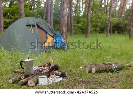 camping in the woods with a fire. perfect camping camping in the woods with a fire clearing with in the woods a fire