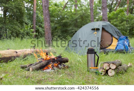 Camping In The Woods With A Fire Clearing
