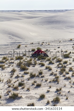 Camping inside White Sands Monument in New Mexico - stock photo