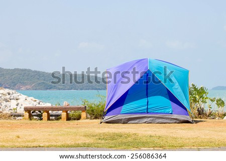 Camping on the Beach - stock photo
