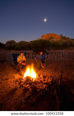 camping on the Gunbarrel Highway - stock photo