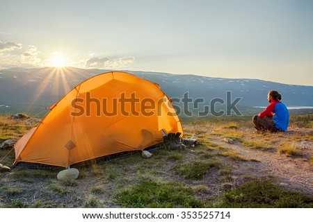 Camping on the Kungsleden - Sweden - at Sunrise - stock photo
