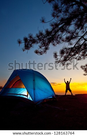 camping on the mountain - stock photo