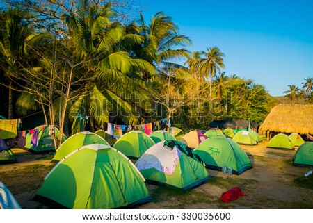 Camping site in Tayrona National Park, protected area in the caribbean region of Colombia - stock photo