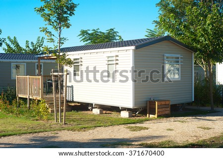 Camping site with  identical mobil homes  - stock photo