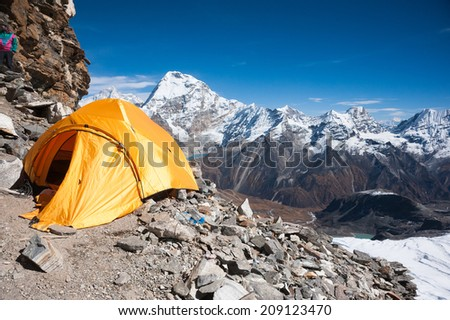 Camping tent at Mera peak high camp, Everest region, Nepal - stock photo