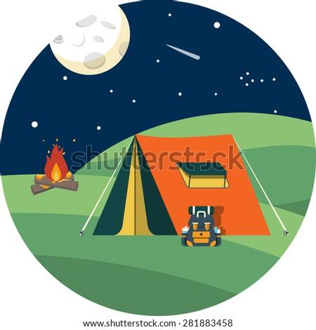 Camping Tent at Night - stock photo