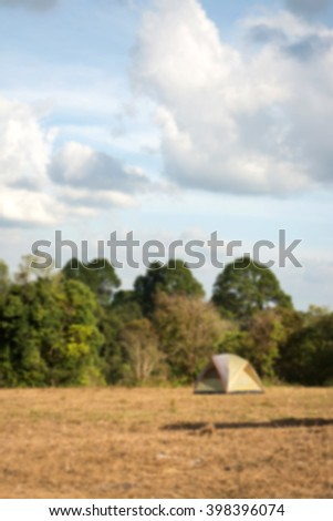 camping tent at view at national park,blurred background - stock photo